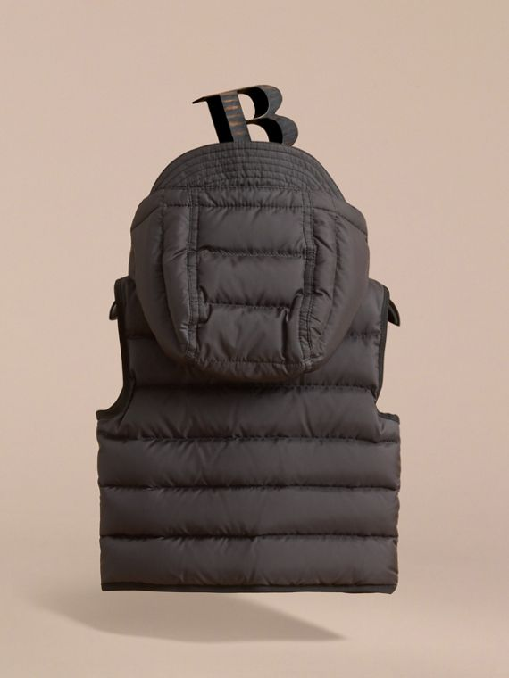 Down-filled Hooded Gilet in Charcoal | Burberry - cell image 3