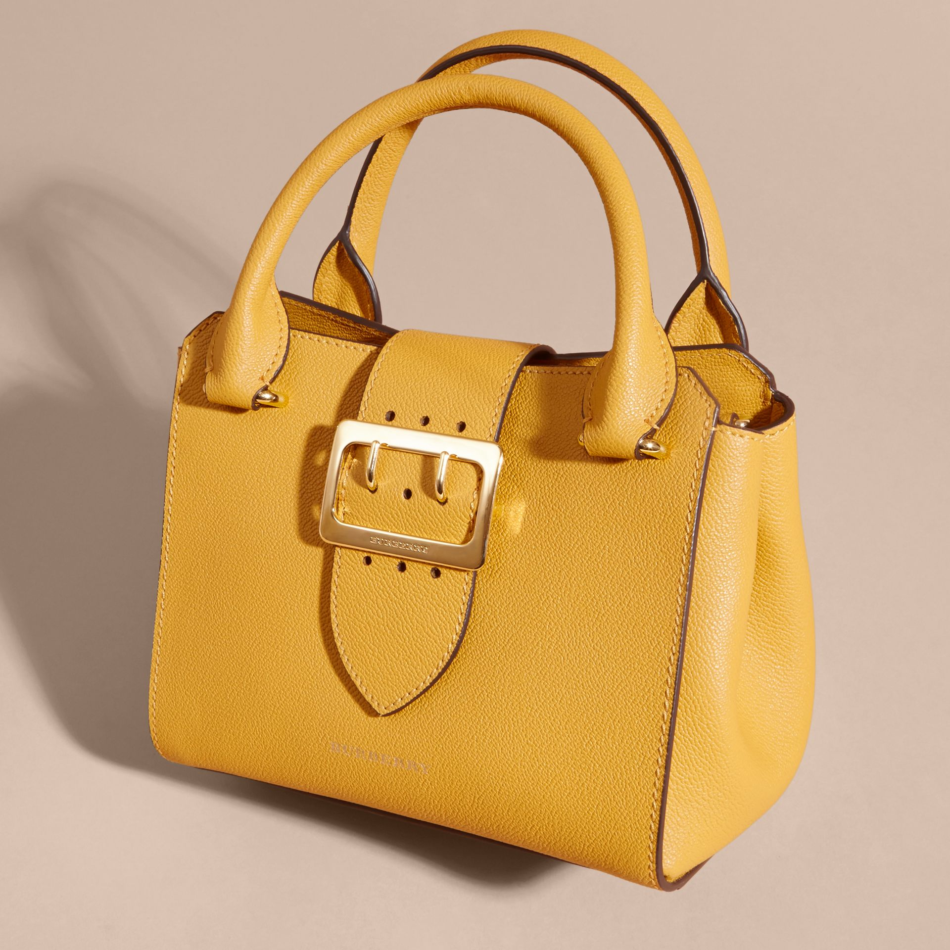 The Small Buckle Tote in Grainy Leather in Bright Straw - Women | Burberry Singapore - gallery image 7