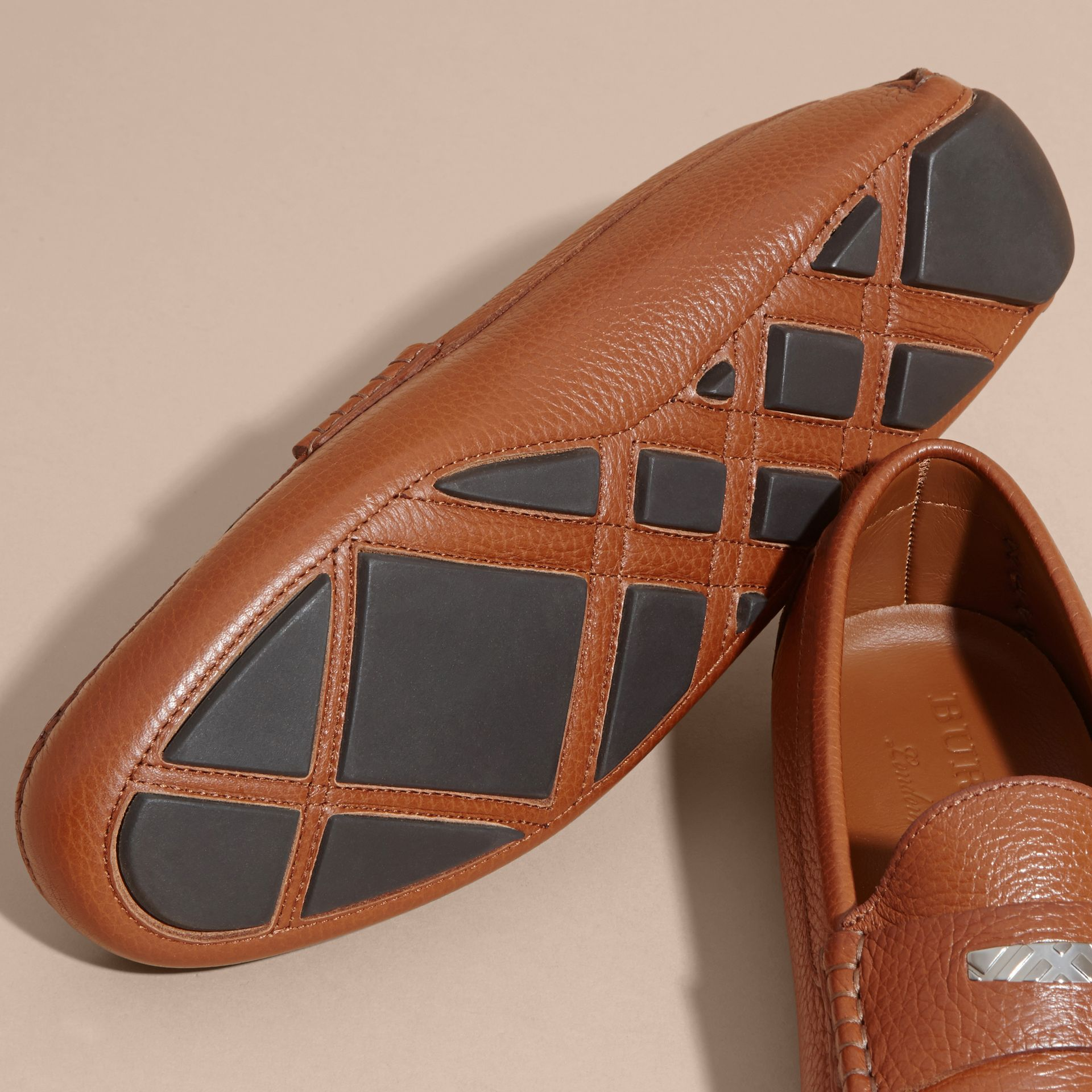 Leather Loafers with Engraved Check Detail - gallery image 5