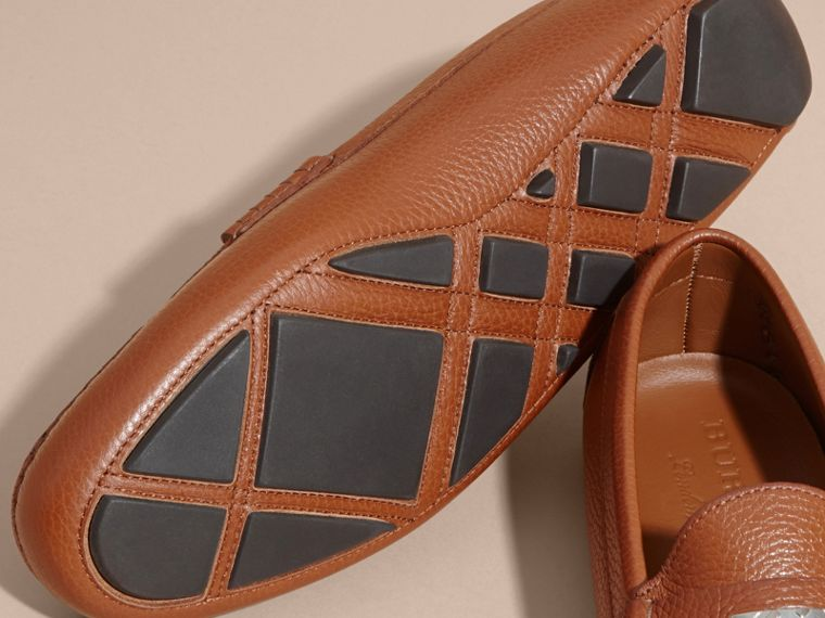 Leather Loafers with Engraved Check Detail - cell image 4