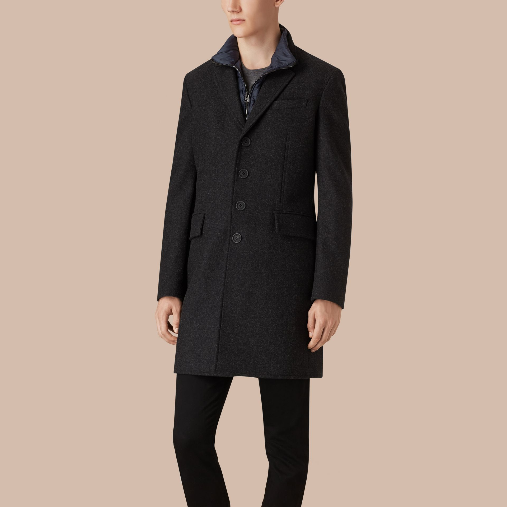 Dark charcoal melange Wool Cashmere Melton Coat with Warmer Dark Charcoal Melange - gallery image 4