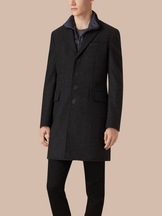 Dark charcoal melange Wool Cashmere Melton Coat with Warmer Dark Charcoal Melange - cell image 3