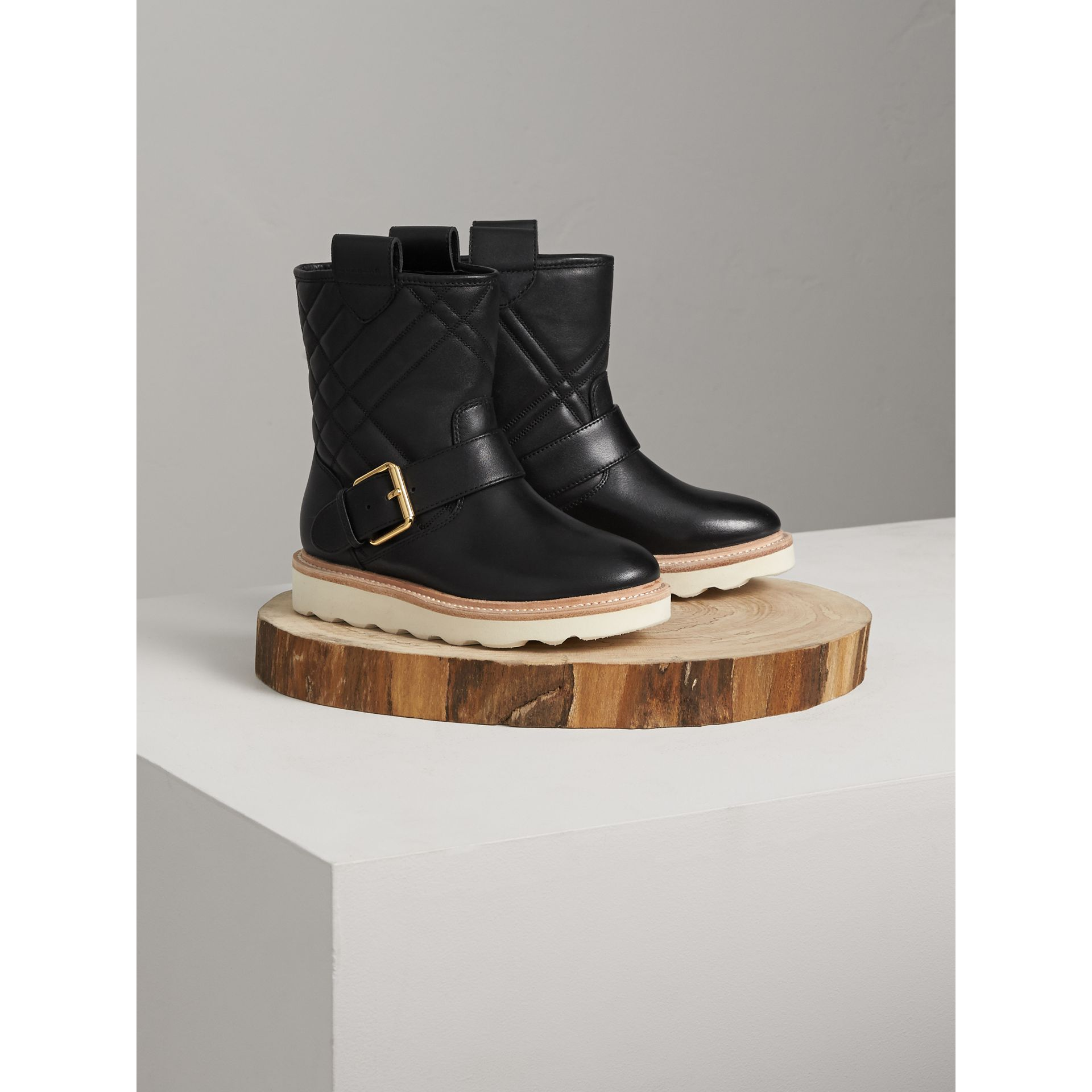 Quilted Leather Weather Boots in Black | Burberry United Kingdom - gallery image 0