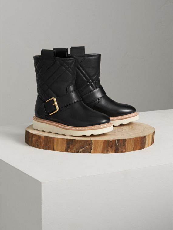 Quilted Leather Weather Boots in Black