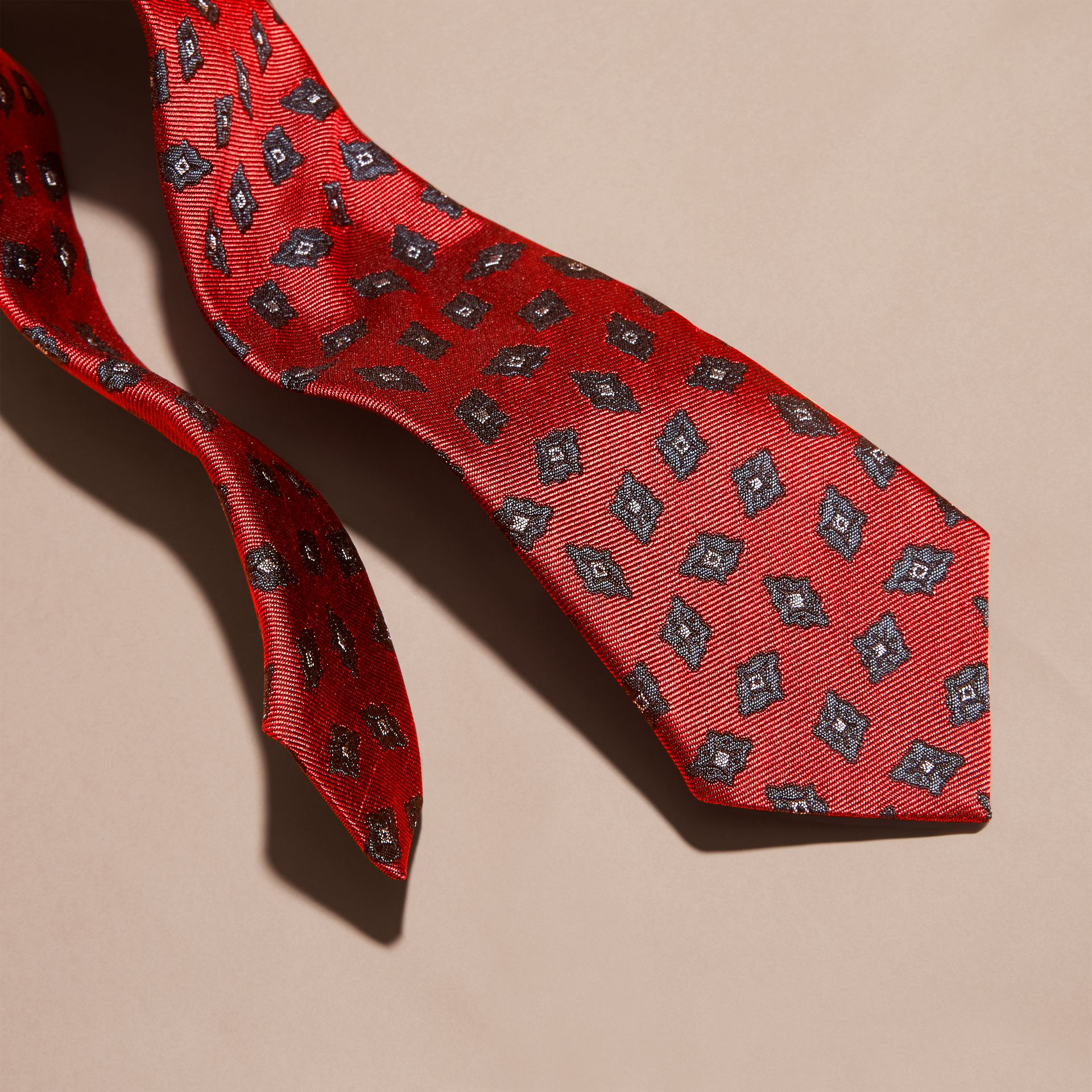 Military red Modern Cut Geometric Print Silk Twill Tie - gallery image 2