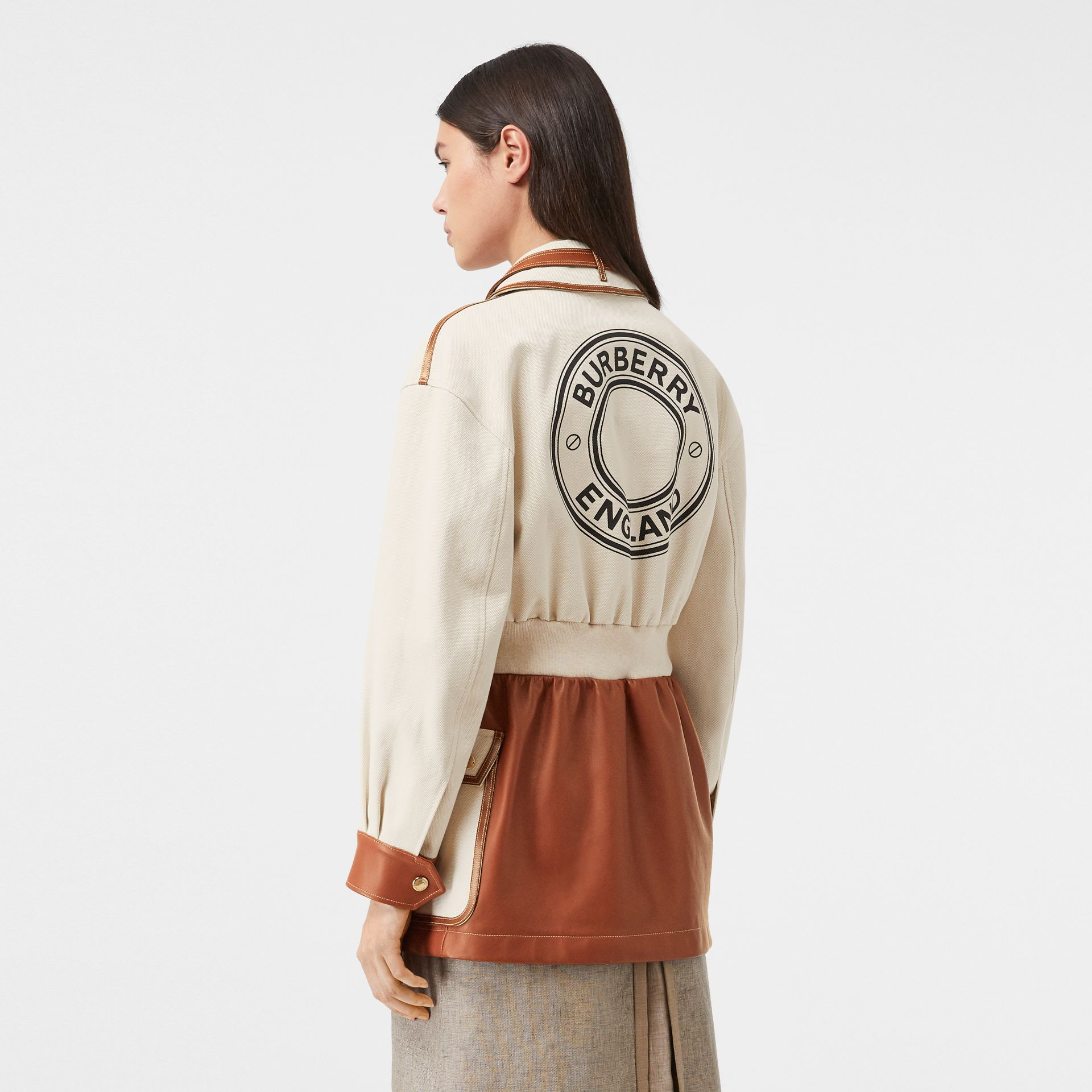 Logo Graphic Cotton and Lambskin Riding Jacket in Vanilla - Women | Burberry United Kingdom - gallery image 2