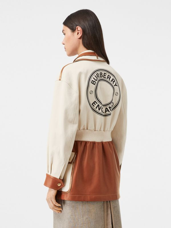 Logo Graphic Cotton and Lambskin Riding Jacket in Vanilla - Women | Burberry United Kingdom - cell image 2