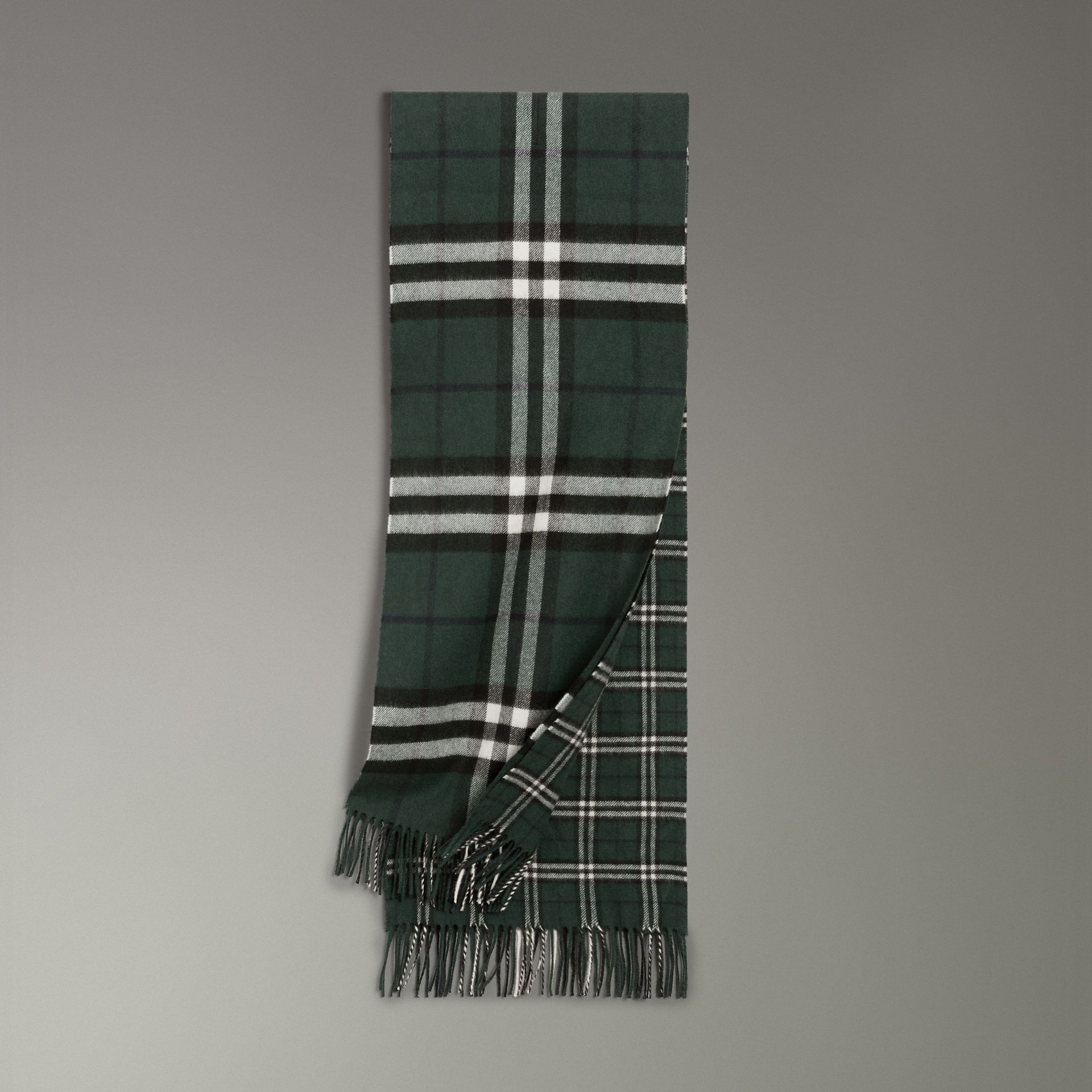 Gosha x Burberry Check Cashmere Double Scarf in Dark Forest Green | Burberry - gallery image 0