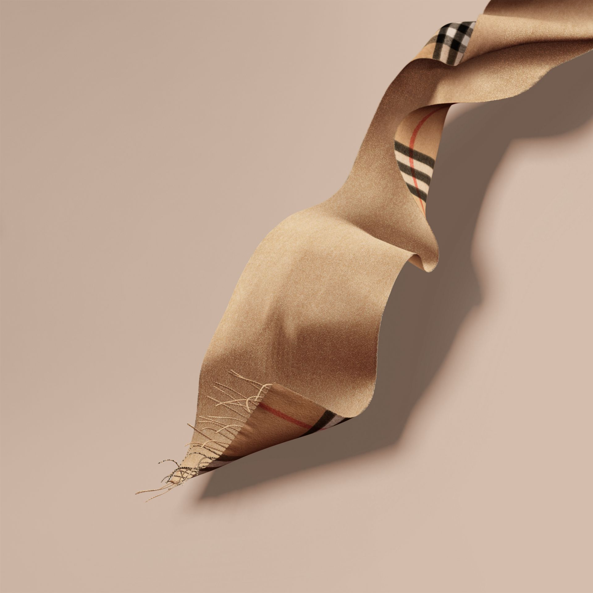 Reversible Metallic Check Cashmere Scarf in Camel | Burberry - gallery image 7