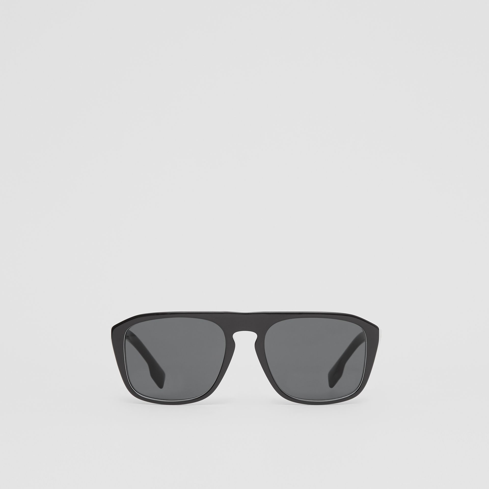 Icon Stripe Detail Square Frame Sunglasses in Black - Men | Burberry United Kingdom - gallery image 0