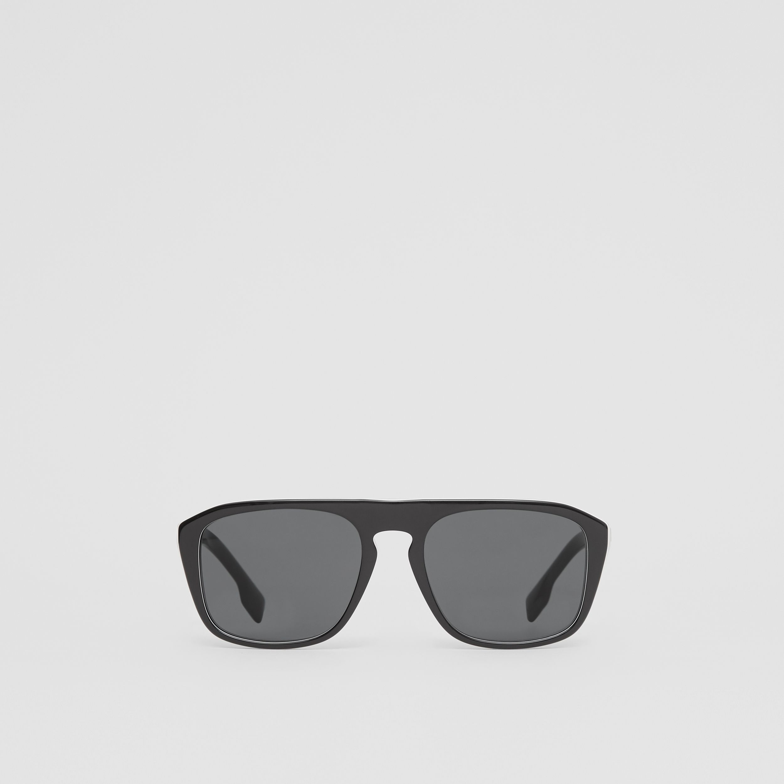 Icon Stripe Detail Square Frame Sunglasses in Black - Men | Burberry - 1