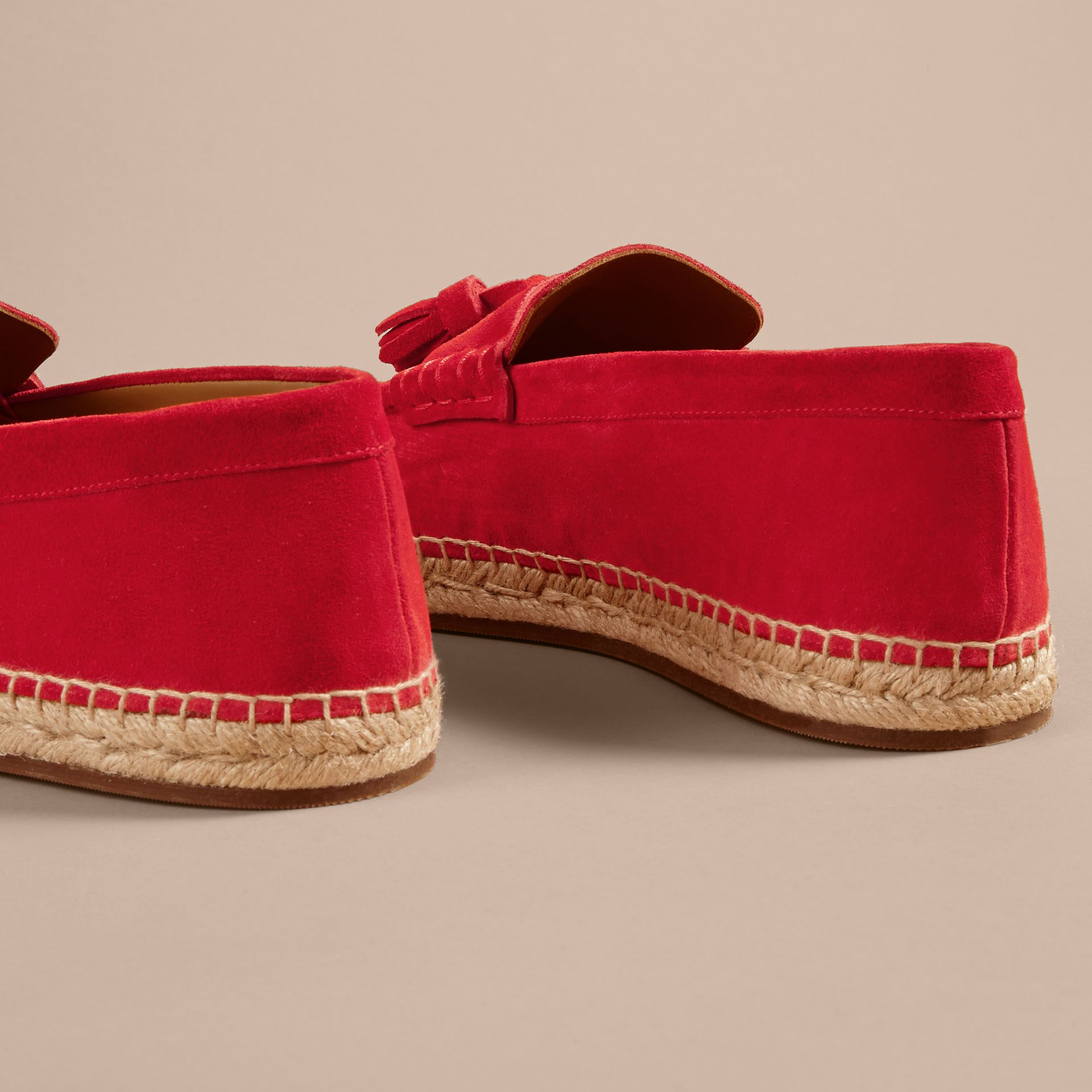 Tasselled Suede Espadrille Loafers in Bright Rowanberry - gallery image 4