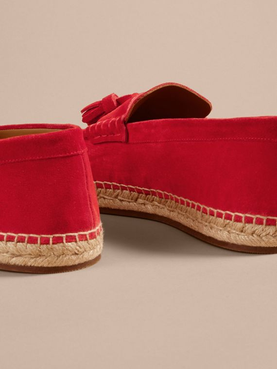 Tasselled Suede Espadrille Loafers in Bright Rowanberry - cell image 3