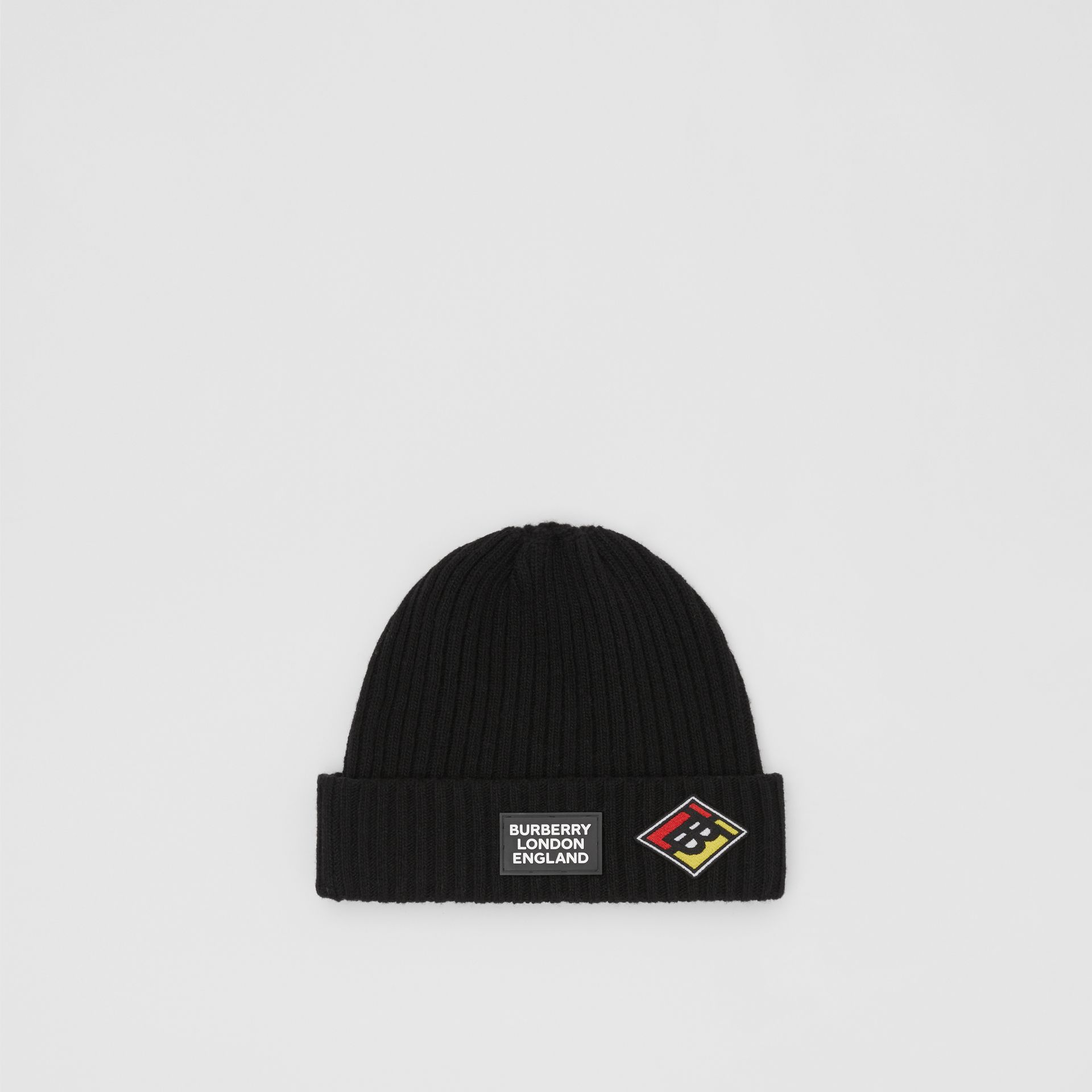 Logo Graphic Rib Knit Wool Beanie in Black | Burberry - gallery image 0