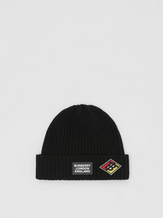Logo Graphic Rib Knit Wool Beanie in Black