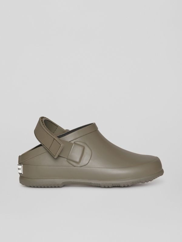 Check Detail Rubber Sandals in Dusty Olive - Children | Burberry - cell image 3