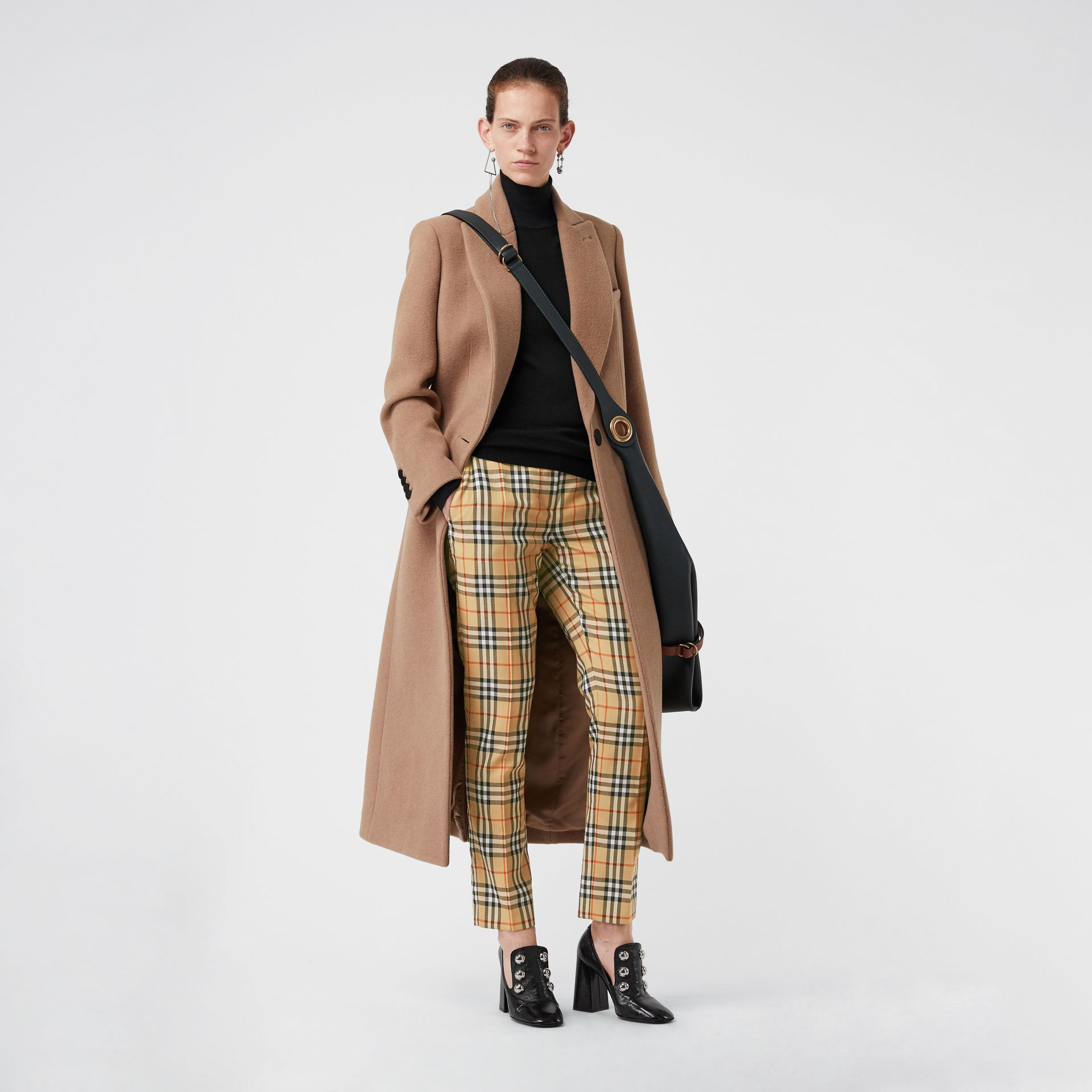 Vintage Check Wool Cigarette Trousers in Antique Yellow - Women | Burberry - gallery image 0