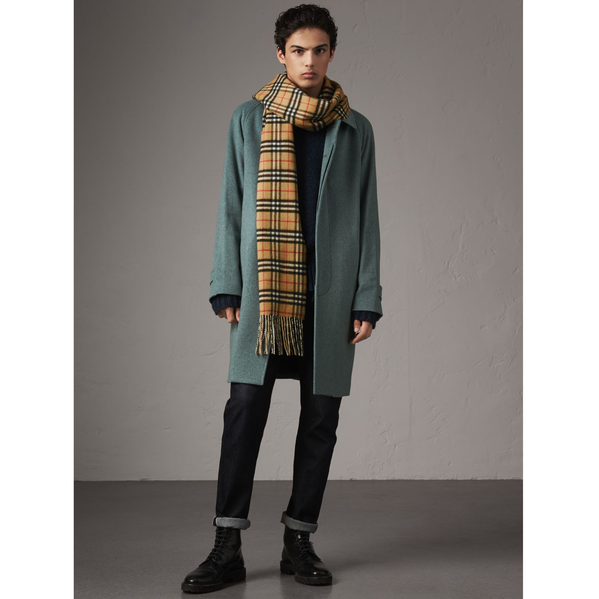 Cashmere Car Coat in Storm Green Melange - Men | Burberry - gallery image 0