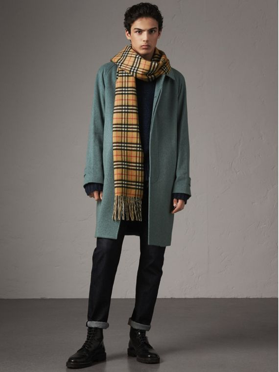 Cashmere Car Coat in Storm Green Melange