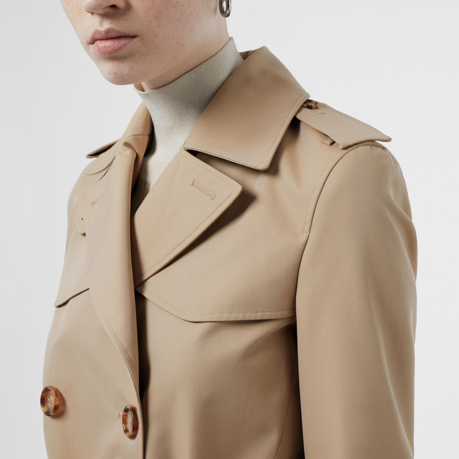 Cotton Gabardine Trench Coat in Honey - Women | Burberry Singapore - gallery image 1