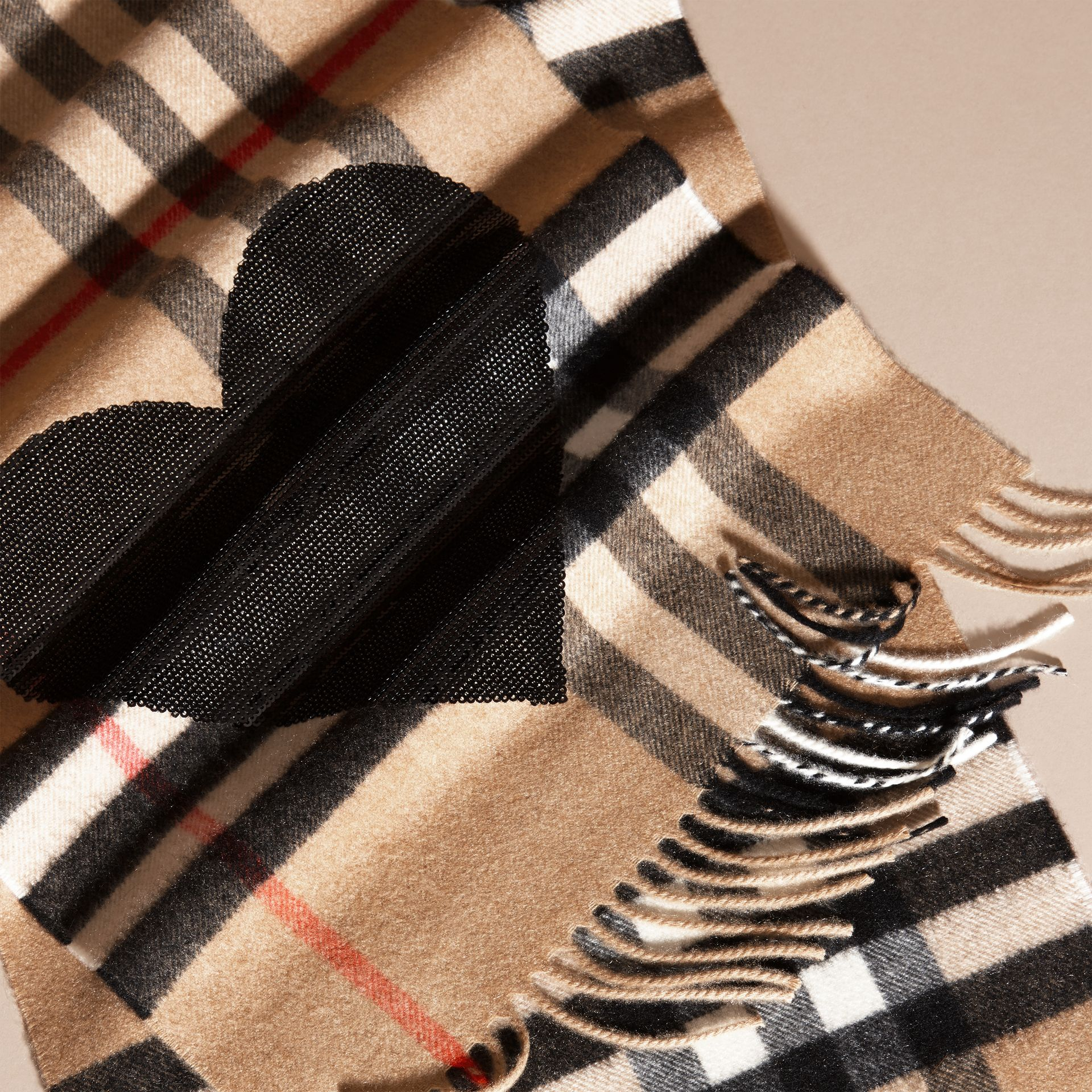 The Classic Cashmere Scarf in Check with Sequined Heart in Camel/black - gallery image 5