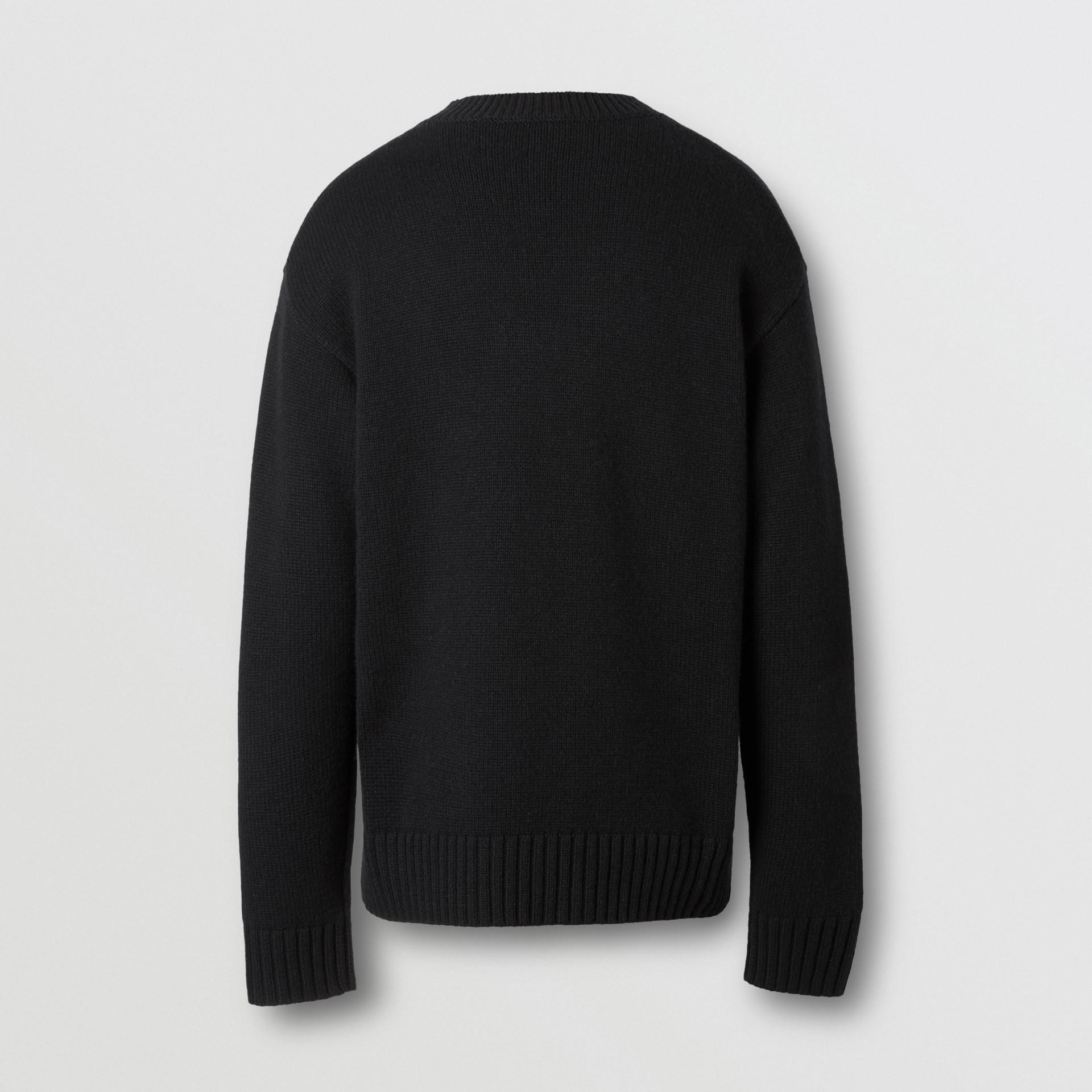 Slogan Intarsia Cashmere Sweater in Black - Men | Burberry - gallery image 5