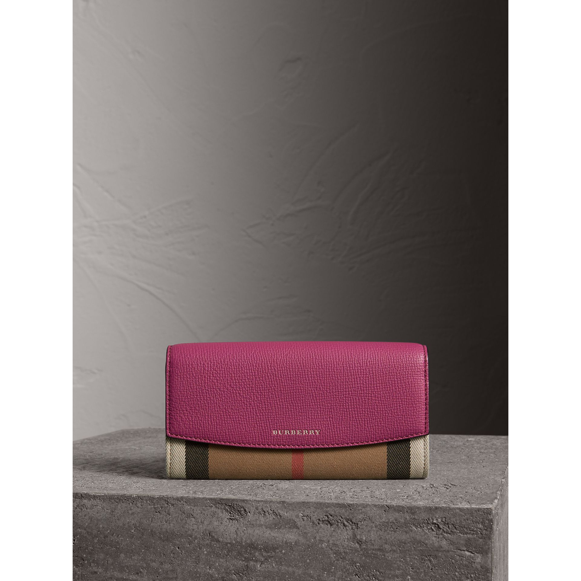 House Check and Leather Continental Wallet in Brilliant Fuchsia - Women | Burberry - gallery image 1