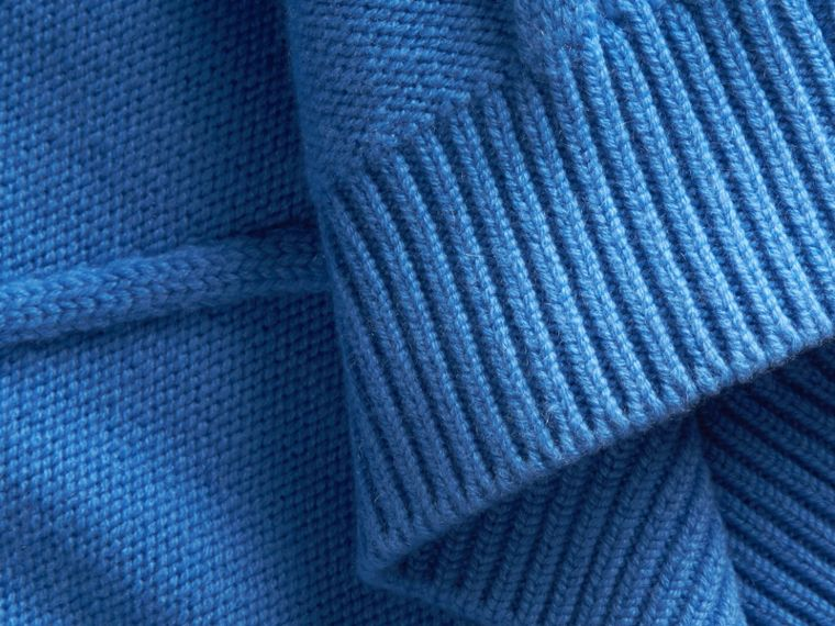 Hydrangia blue Ruffle-sleeved Cable Knit Wool Cashmere Sweater - cell image 1