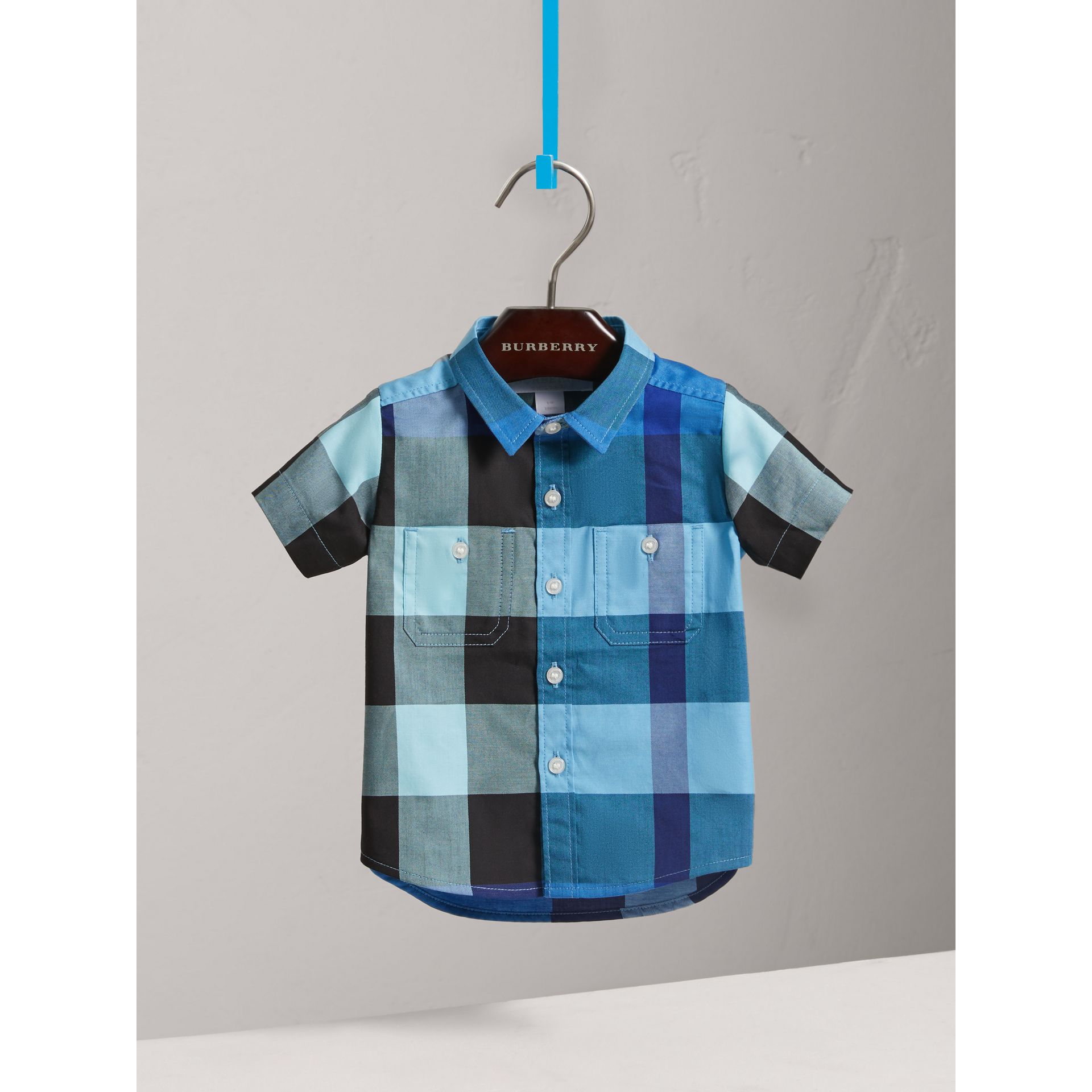 Short-sleeve Check Cotton Shirt in Light Azure | Burberry - gallery image 2
