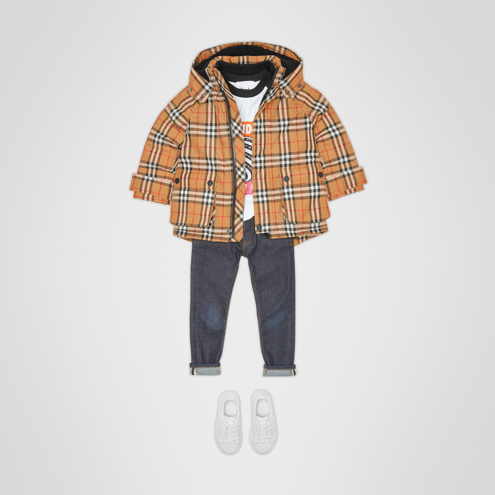 Vintage Check Down-filled Hooded Puffer Jacket in Antique Yellow | Burberry United States - gallery image 2