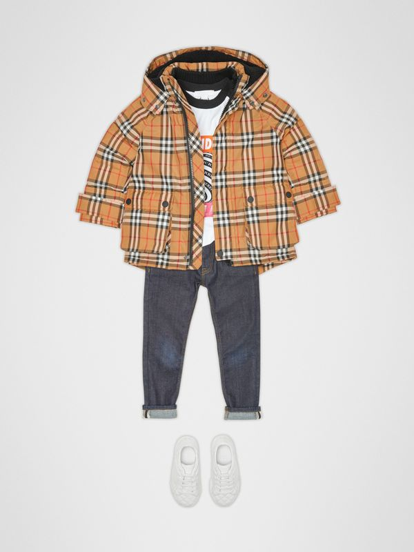 Vintage Check Down-filled Hooded Puffer Jacket in Antique Yellow | Burberry Australia - cell image 2