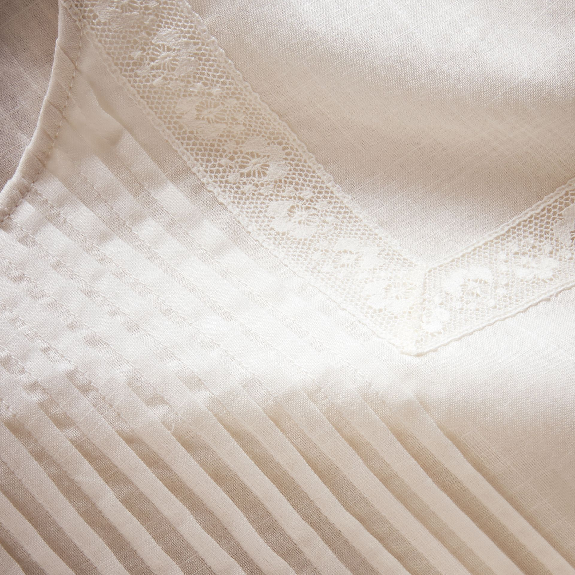 Pintuck and Lace Detail Cotton Dress in Natural White - Women | Burberry - gallery image 2