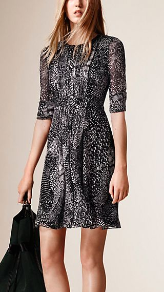 Graphic Print Silk Crepe Dress