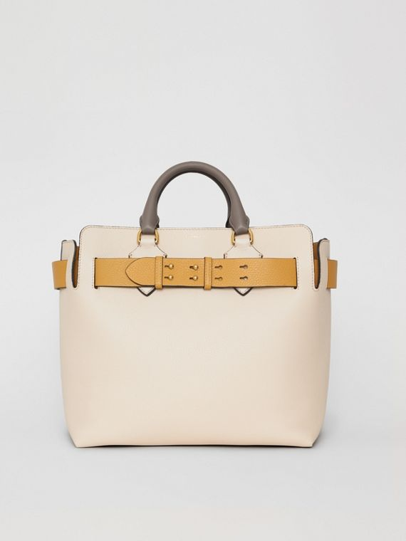 The Medium Tri-tone Leather Belt Bag in Limestone / Cornflower Yellow