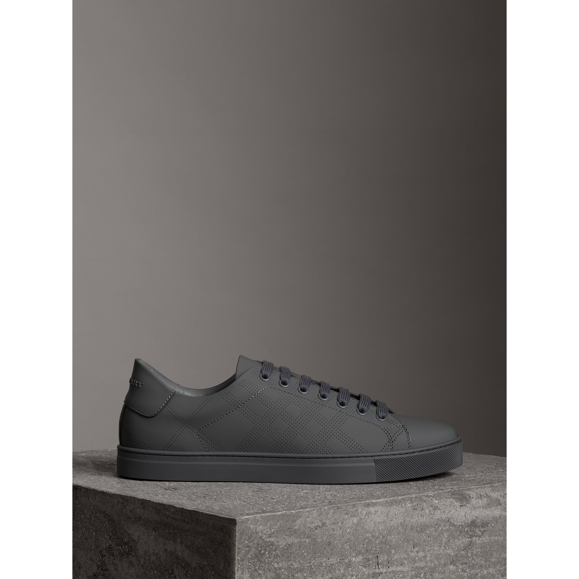 Perforated Check Leather Sneakers in Steel Grey - Men | Burberry - gallery image 2