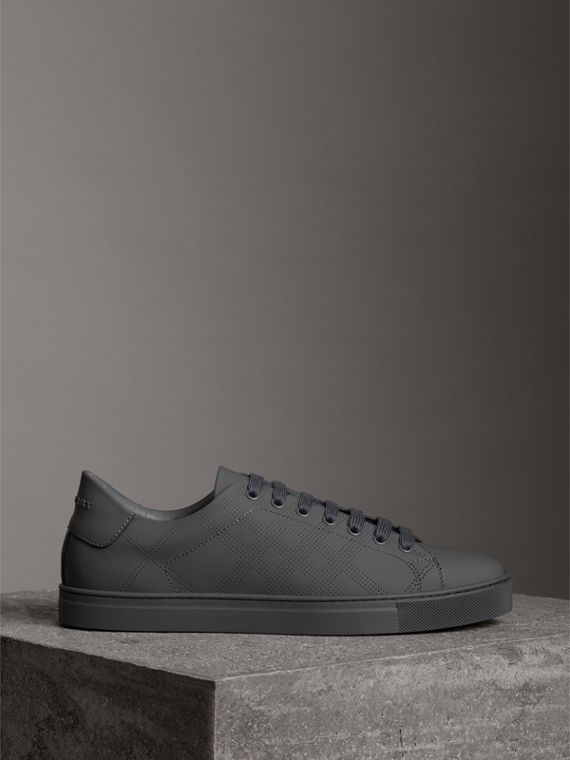 Perforated Check Leather Sneakers in Steel Grey