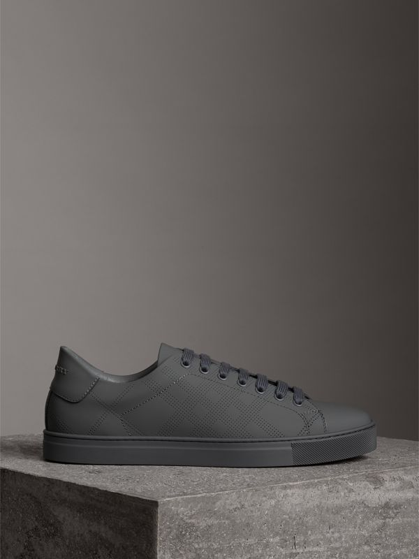 Perforated Check Leather Sneakers in Steel Grey - Men | Burberry - cell image 3