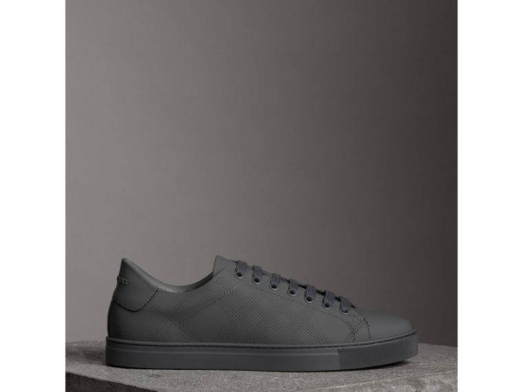 Perforated Check Leather Sneakers in Steel Grey - Men | Burberry - cell image 2