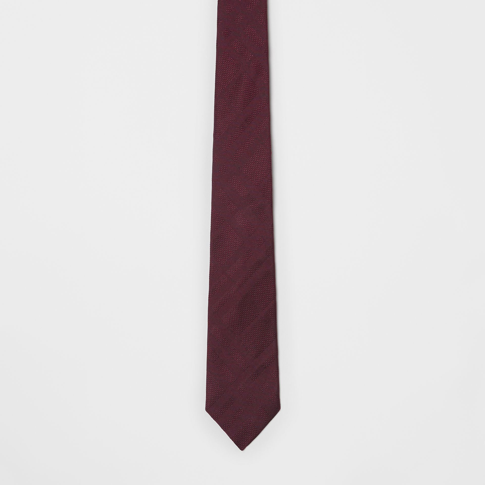 Modern Cut Check Silk Tie in Deep Claret - Men | Burberry United Kingdom - gallery image 3