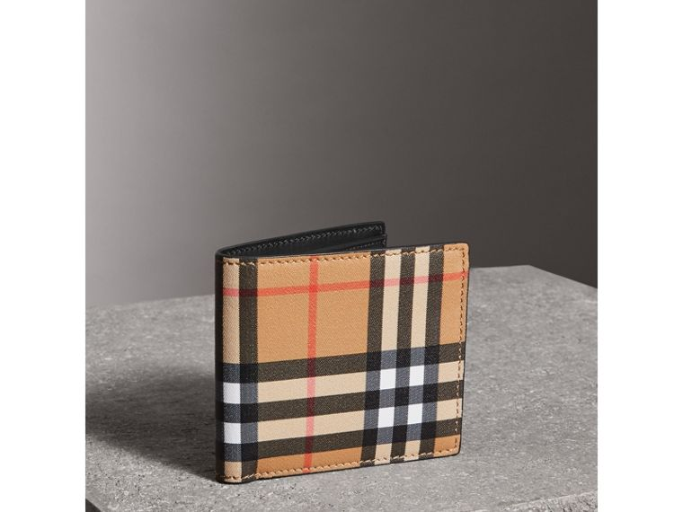 Vintage Check And Leather International Bifold Coin Wallet in Black - Men | Burberry - cell image 4