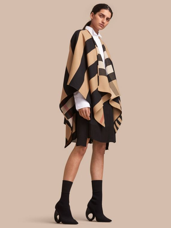Reversible Stripe and Check Merino Wool Poncho in Camel