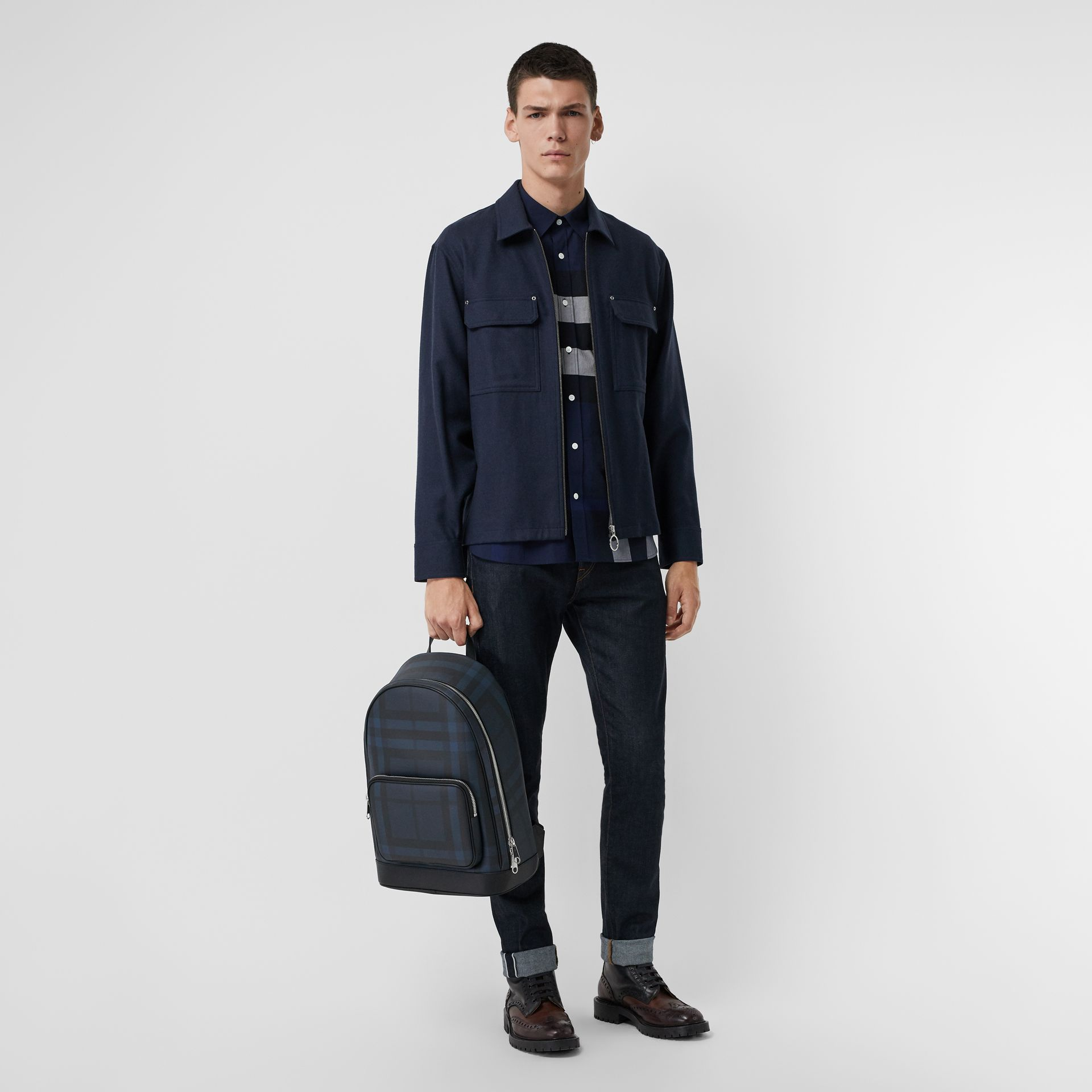 London Check and Leather Backpack in Navy/black - Men | Burberry Hong Kong S.A.R - gallery image 2