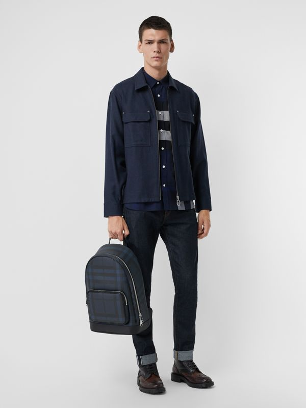 London Check and Leather Backpack in Navy/black - Men | Burberry Singapore - cell image 2