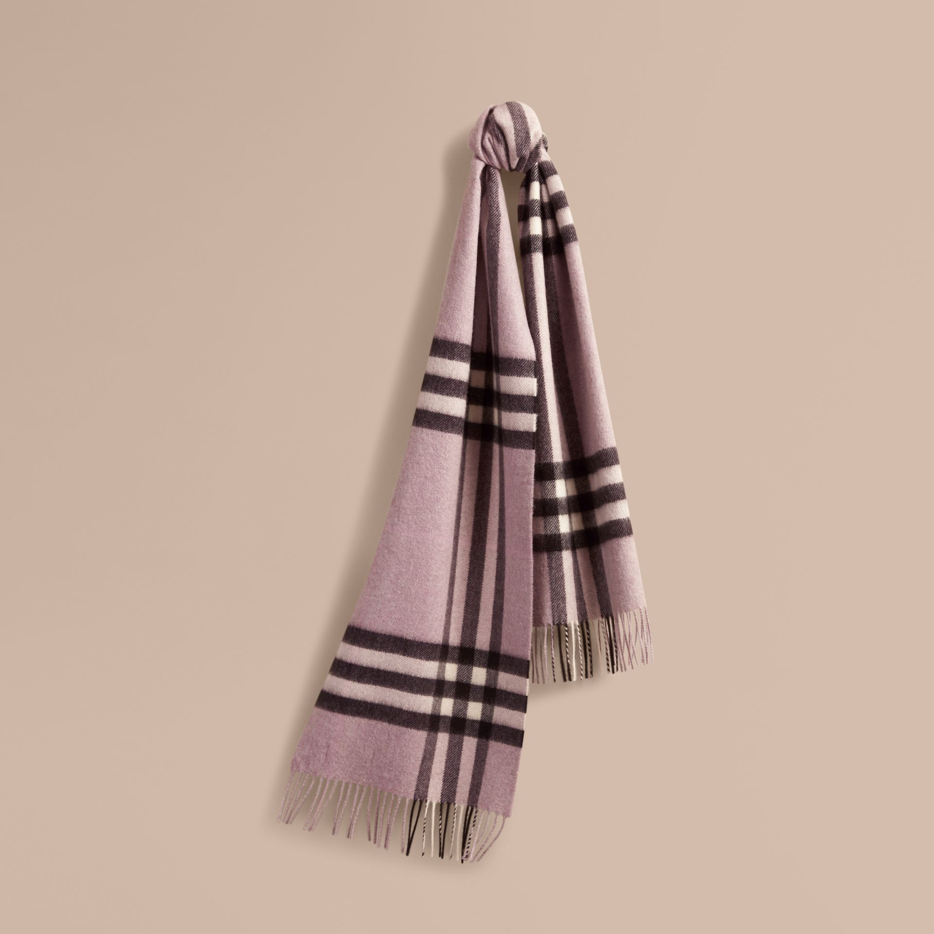The Classic Cashmere Scarf in Check Dusty Lilac - gallery image 6