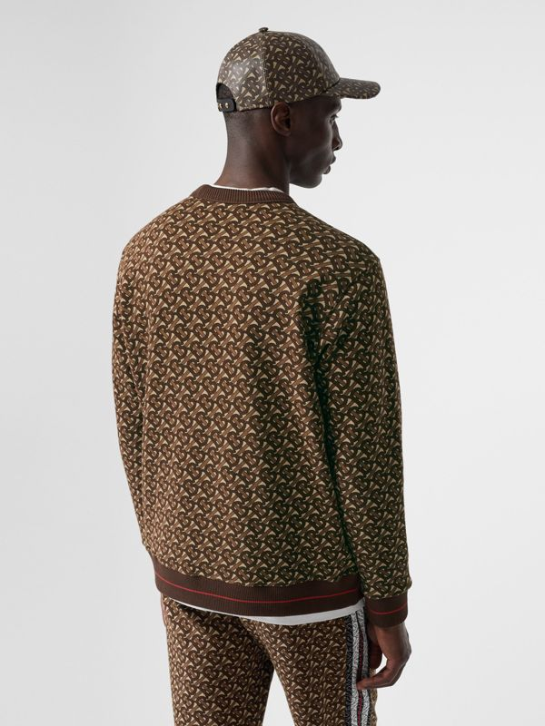 Monogram Stripe Print Cotton Sweatshirt in Bridle Brown - Men | Burberry - cell image 2