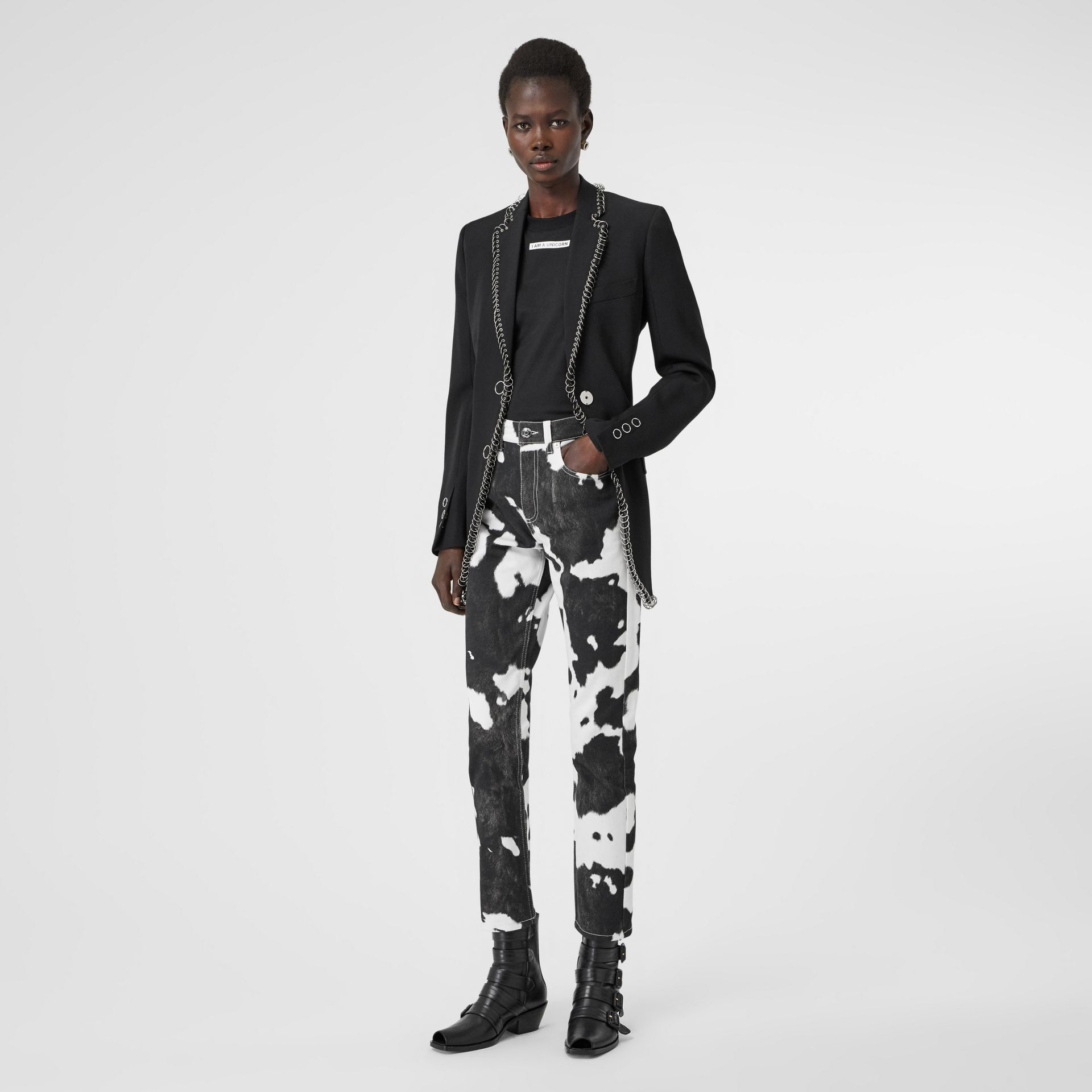 Straight Fit Cow Print Jeans in Black - Women | Burberry - gallery image 0