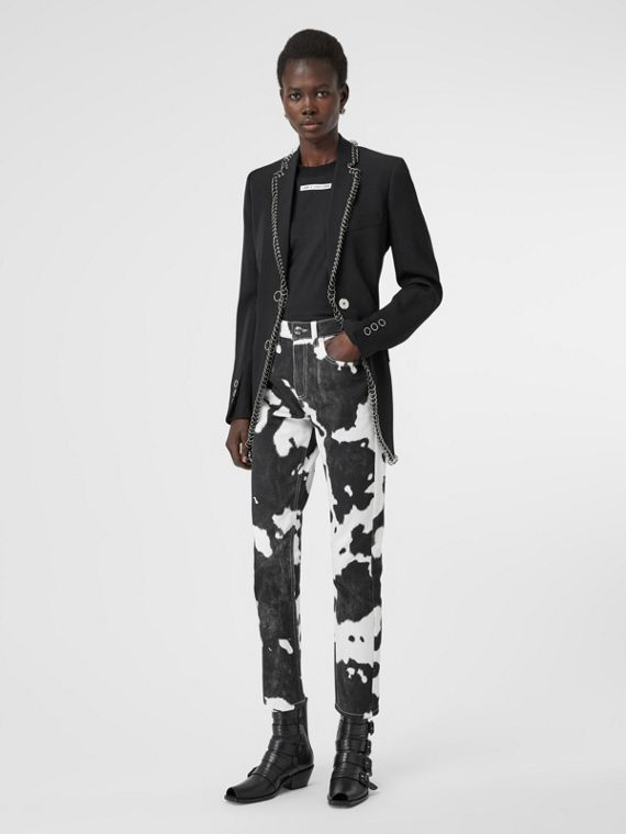 Straight Fit Cow Print Jeans in Black