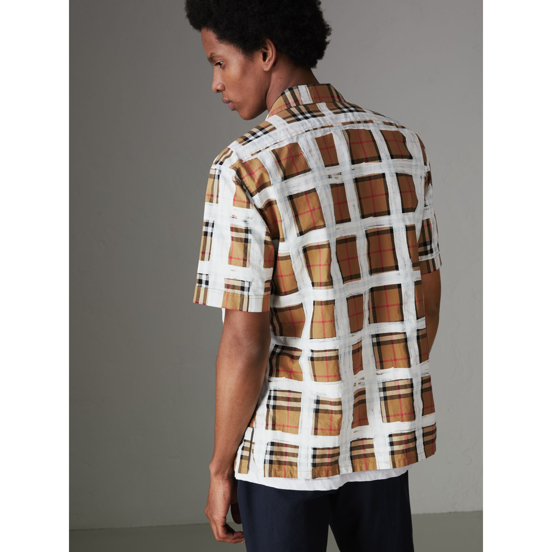 Short-sleeve Painted Vintage Check Cotton Shirt in Antique Yellow - Men | Burberry Australia - gallery image 2
