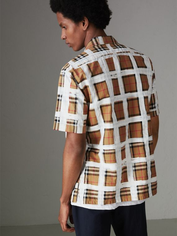 Short-sleeve Painted Vintage Check Cotton Shirt in Antique Yellow - Men | Burberry Australia - cell image 2