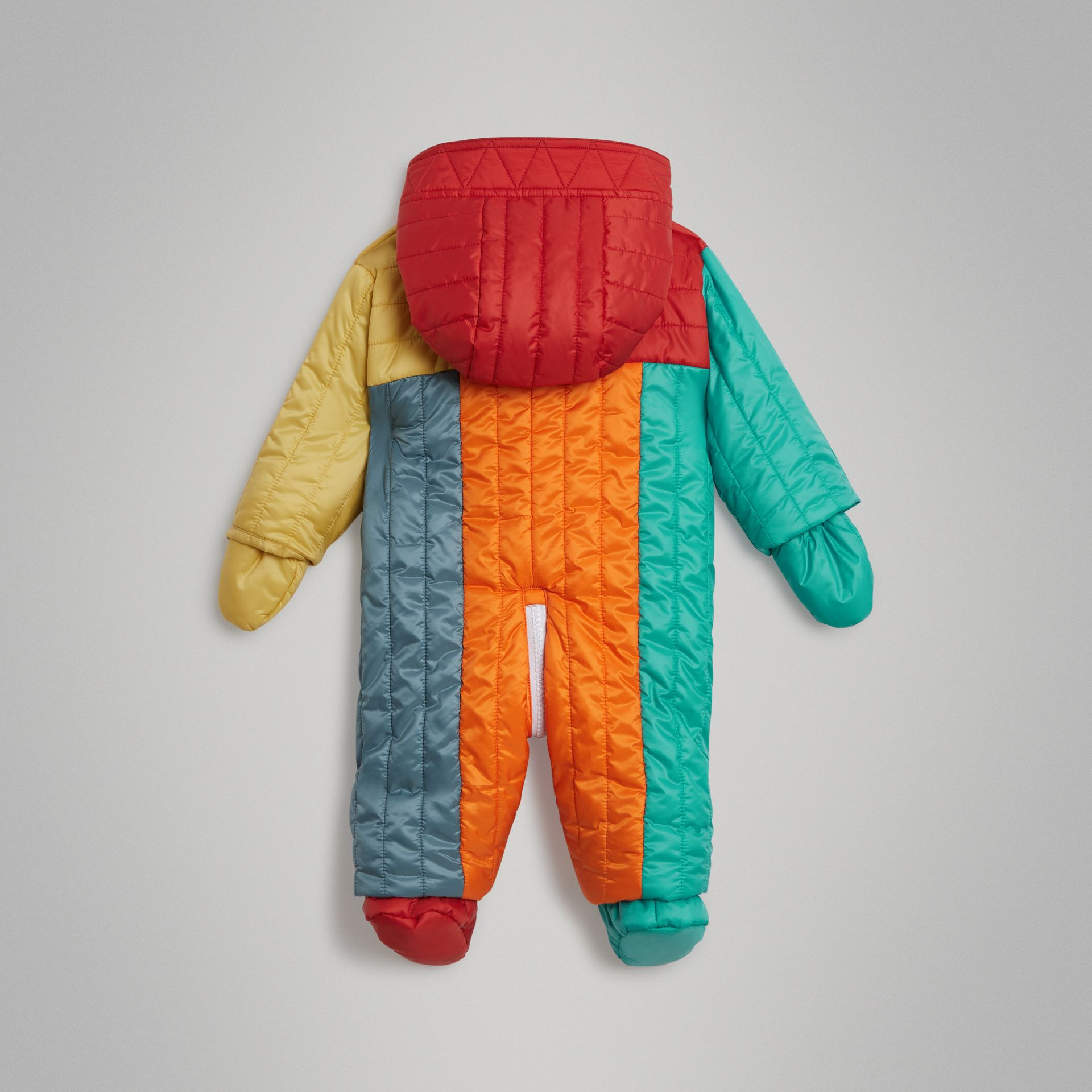 Colour Block Quilted Puffer Suit in Orange Red - Children | Burberry United Kingdom - gallery image 3